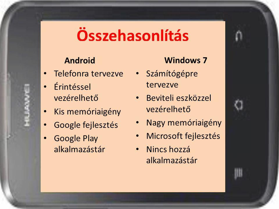 Összehasonlítás Android Telefonra tervezve Érintéssel vezérelhető Kis memóriaigény Google fejlesztés Google Play alkalmazástár Windows 7 Számítógépre