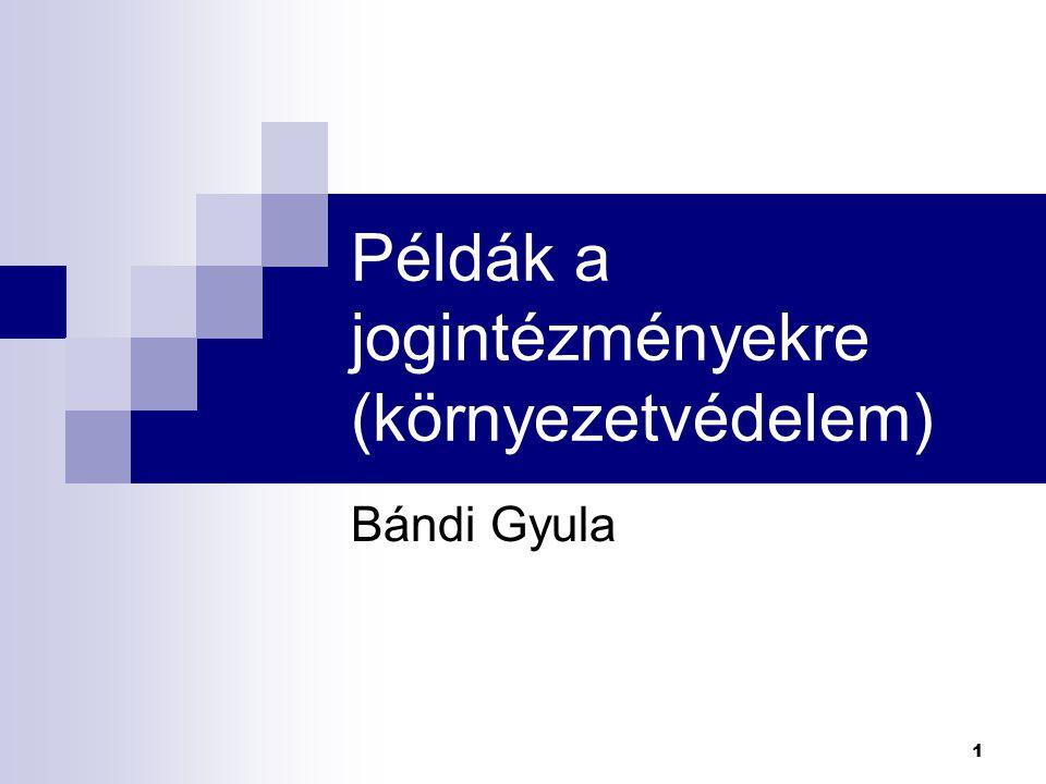 1 Példák a jogintézményekre (környezetvédelem) Bándi Gyula