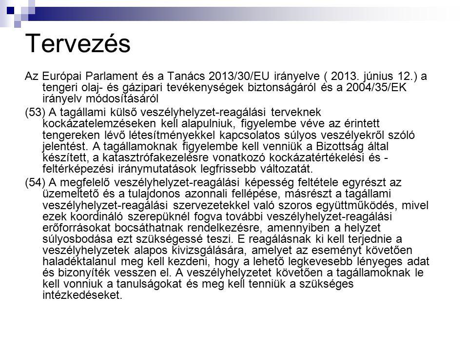 Tervezés Az Európai Parlament és a Tanács 2013/30/EU irányelve ( 2013. június 12.) a tengeri olaj- és gázipari tevékenységek biztonságáról és a 2004/3