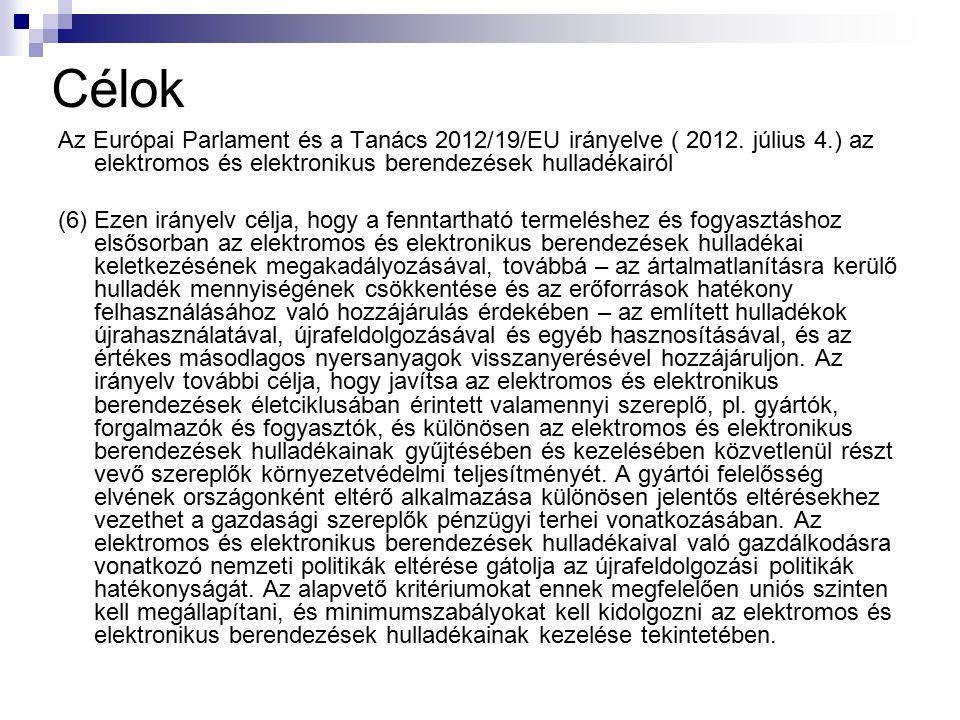 Célok Az Európai Parlament és a Tanács 2012/19/EU irányelve ( 2012. július 4.) az elektromos és elektronikus berendezések hulladékairól (6) Ezen irány