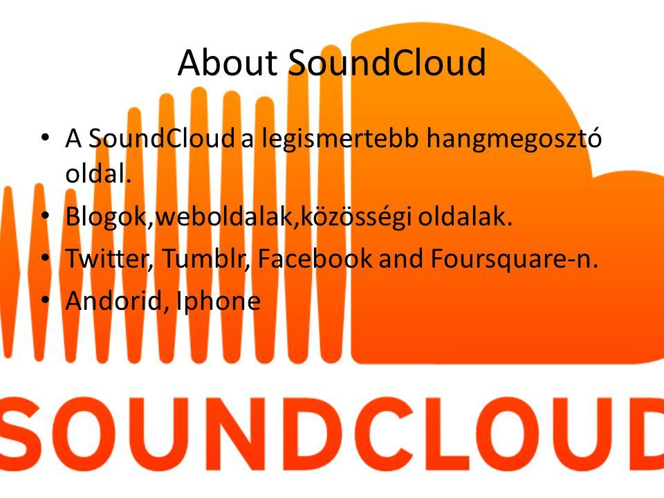 About SoundCloud A SoundCloud a legismertebb hangmegosztó oldal. Blogok,weboldalak,közösségi oldalak. Twitter, Tumblr, Facebook and Foursquare-n. Ando