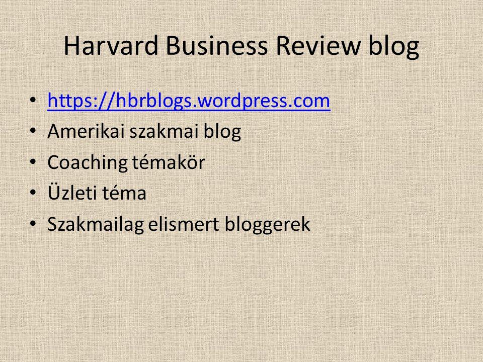 Harvard Business Review blog https://hbrblogs.wordpress.com Amerikai szakmai blog Coaching témakör Üzleti téma Szakmailag elismert bloggerek