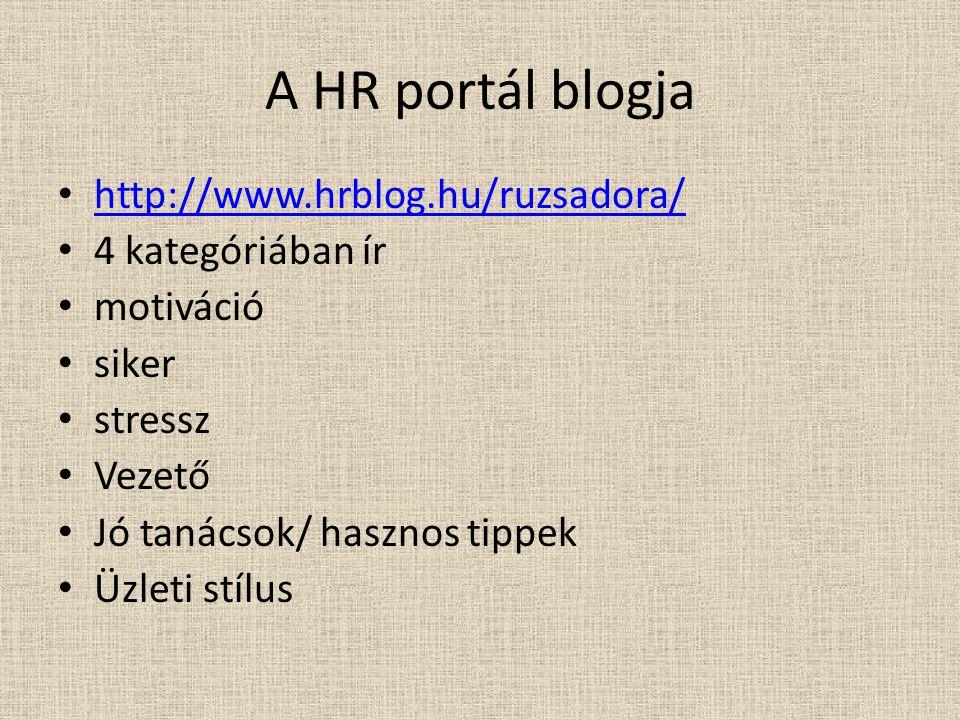 A HR portál blogja http://www.hrblog.hu/ruzsadora/ 4 kategóriában ír motiváció siker stressz Vezető Jó tanácsok/ hasznos tippek Üzleti stílus