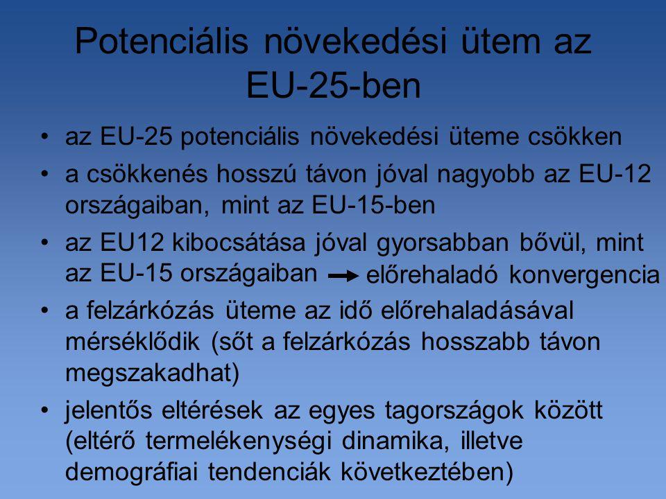 Potenciális növekedési ütem az EU-25-ben az EU-25 potenciális növekedési üteme csökken a csökkenés hosszú távon jóval nagyobb az EU-12 országaiban, mint az EU-15-ben az EU12 kibocsátása jóval gyorsabban bővül, mint az EU-15 országaiban a felzárkózás üteme az idő előrehaladásával mérséklődik (sőt a felzárkózás hosszabb távon megszakadhat) jelentős eltérések az egyes tagországok között (eltérő termelékenységi dinamika, illetve demográfiai tendenciák következtében) előrehaladó konvergencia