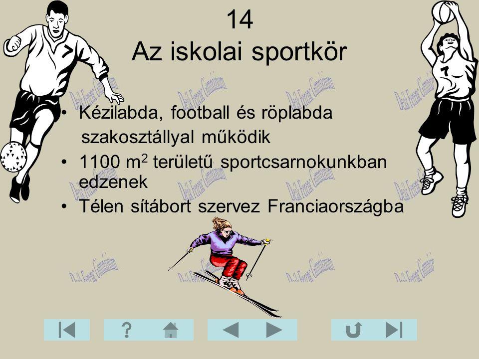 Kézilabda, football és röplabda szakosztállyal működik 1100 m 2 területű sportcsarnokunkban edzenek Télen sítábort szervez Franciaországba 14 Az iskol