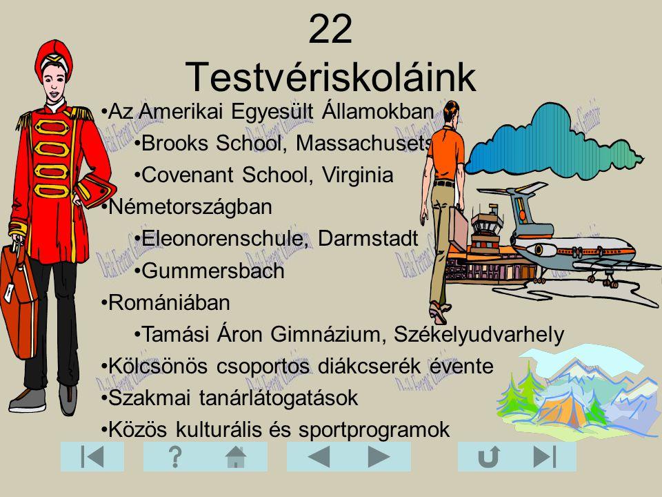 22 Testvériskoláink Az Amerikai Egyesült Államokban Brooks School, Massachusets Covenant School, Virginia Németországban Eleonorenschule, Darmstadt Gu
