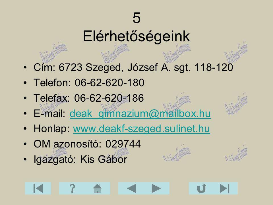 Cím: 6723 Szeged, József A. sgt. 118-120 Telefon: 06-62-620-180 Telefax: 06-62-620-186 E-mail: deak_gimnazium@mailbox.hudeak_gimnazium@mailbox.hu Honl