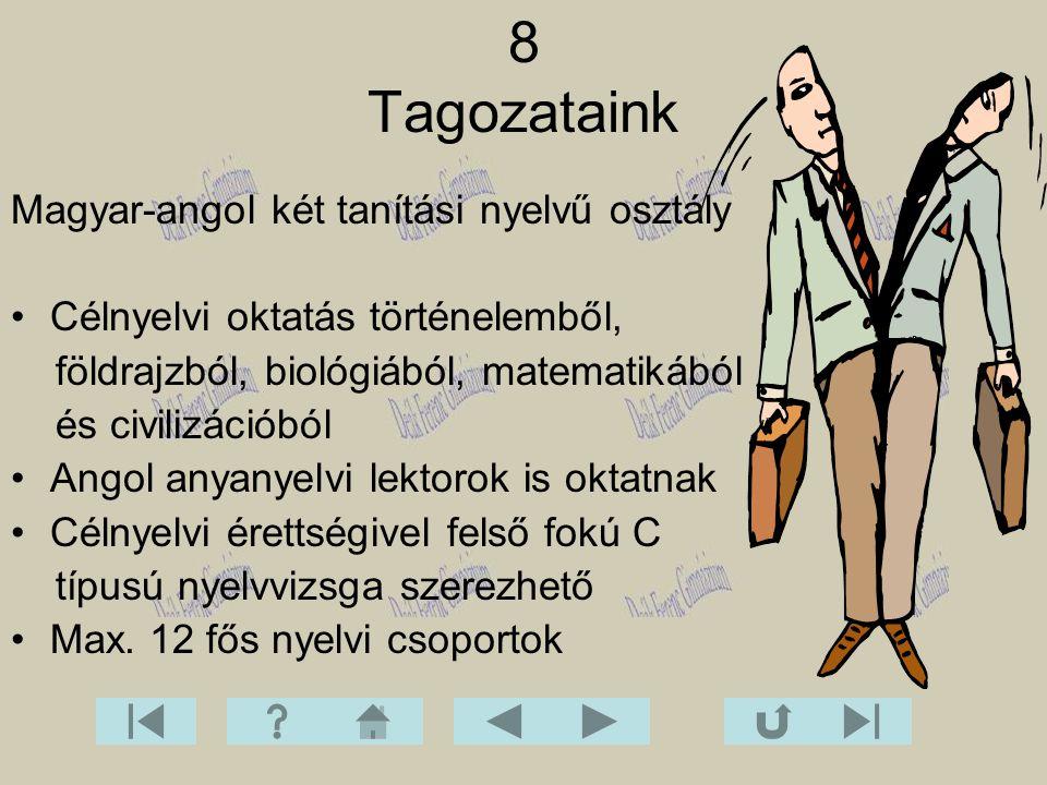 Magyar-angol két tanítási nyelvű osztály Célnyelvi oktatás történelemből, földrajzból, biológiából, matematikából és civilizációból Angol anyanyelvi l