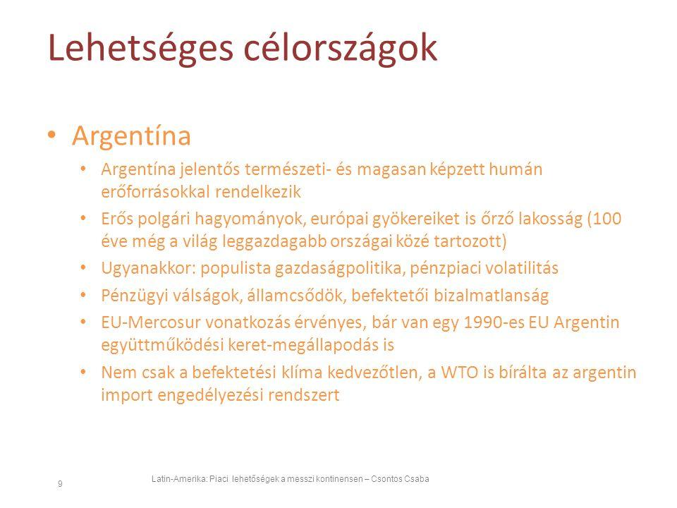 Lehetséges célországok Latin-Amerika: Piaci lehetőségek a messzi kontinensen – Csontos Csaba 9 Argentína Argentína jelentős természeti- és magasan képzett humán erőforrásokkal rendelkezik Erős polgári hagyományok, európai gyökereiket is őrző lakosság (100 éve még a világ leggazdagabb országai közé tartozott) Ugyanakkor: populista gazdaságpolitika, pénzpiaci volatilitás Pénzügyi válságok, államcsődök, befektetői bizalmatlanság EU-Mercosur vonatkozás érvényes, bár van egy 1990-es EU Argentin együttműködési keret-megállapodás is Nem csak a befektetési klíma kedvezőtlen, a WTO is bírálta az argentin import engedélyezési rendszert