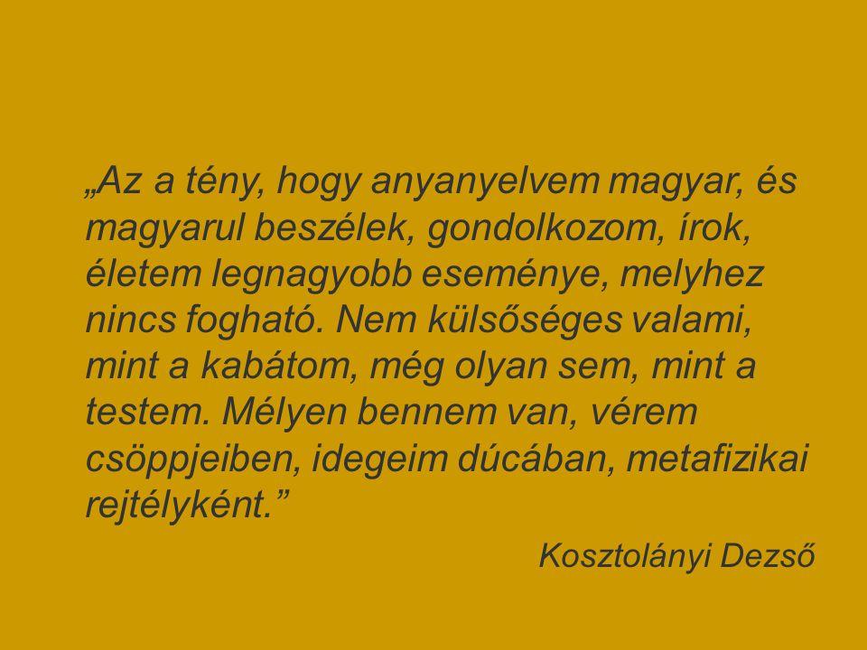 """""""Az a tény, hogy anyanyelvem magyar, és magyarul beszélek, gondolkozom, írok, életem legnagyobb eseménye, melyhez nincs fogható. Nem külsőséges valami"""