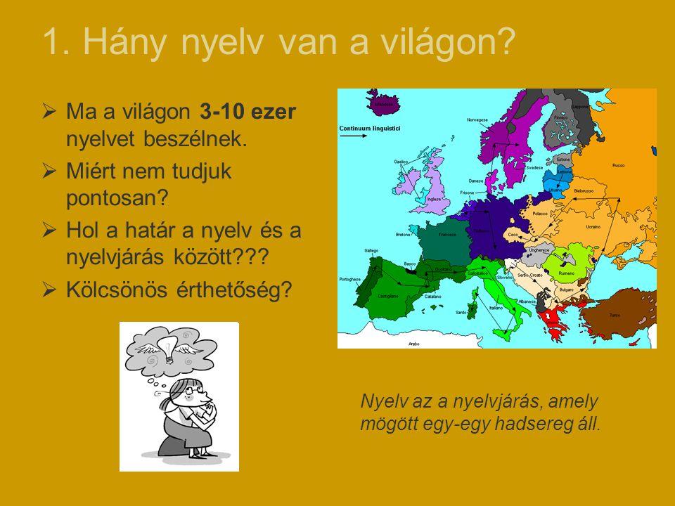 1. Hány nyelv van a világon?  Ma a világon 3-10 ezer nyelvet beszélnek.  Miért nem tudjuk pontosan?  Hol a határ a nyelv és a nyelvjárás között???