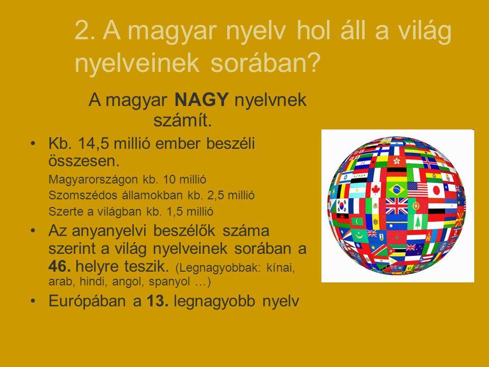 2. A magyar nyelv hol áll a világ nyelveinek sorában? A magyar NAGY nyelvnek számít. Kb. 14,5 millió ember beszéli összesen. Magyarországon kb. 10 mil