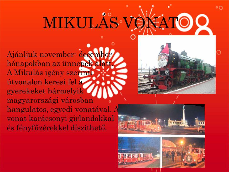 MIKULÁS VONAT Ajánljuk november- december hónapokban az ünnepek alatt.