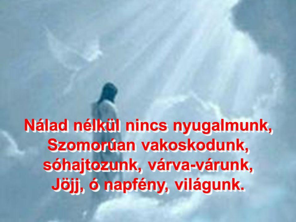 Jézus te vagy mennynek éke, Jöjj el drága földnek fénye, Fényes lánggal, lobogással, Jöjj sietve példaadással. Jézus te vagy mennynek éke, Jöjj el drá