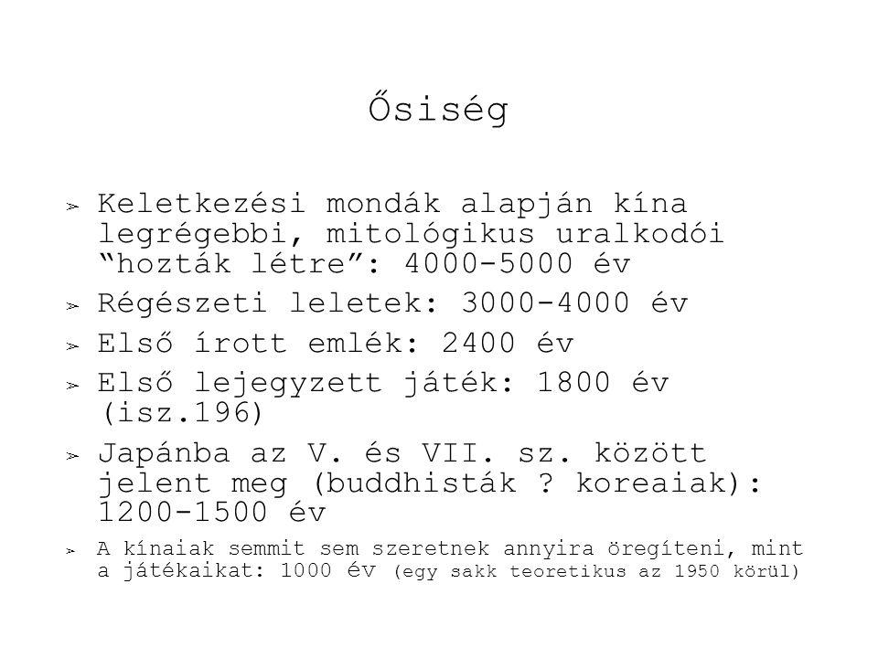 Ősiség ➢ Keletkezési mondák alapján kína legrégebbi, mitológikus uralkodói hozták létre : 4000-5000 év ➢ Régészeti leletek: 3000-4000 év ➢ Első írott emlék: 2400 év ➢ Első lejegyzett játék: 1800 év (isz.196) ➢ Japánba az V.