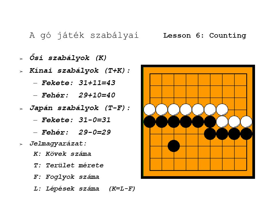 A gó játék szabályai Lesson 6: Counting ➢ Ősi szabályok (K) ➢ Kínai szabályok (T+K): – Fekete: 31+11=43 – Fehér: 29+10=40 ➢ Japán szabályok (T-F): – Fekete: 31-0=31 – Fehér: 29-0=29 ➢ Jelmagyarázat: K: Kövek száma T: Terület mérete F: Foglyok száma L: Lépések száma (K=L-F)
