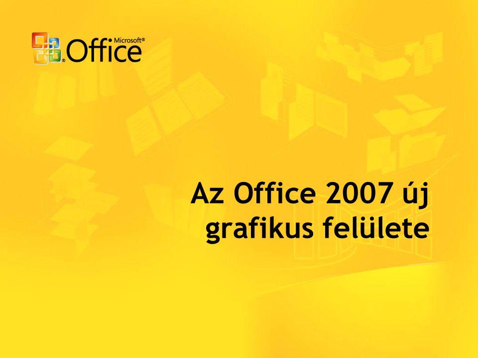 Az Office 2007 újdonságai Új felület Word, Excel, PowerPoint, Access, részben az Outlook is Nagyszámú kész minta, sablon; könnyen testreszabhatók Új funkciók a felhasználók igénye (PDF) és az informatika fejlődés (XML) miatt