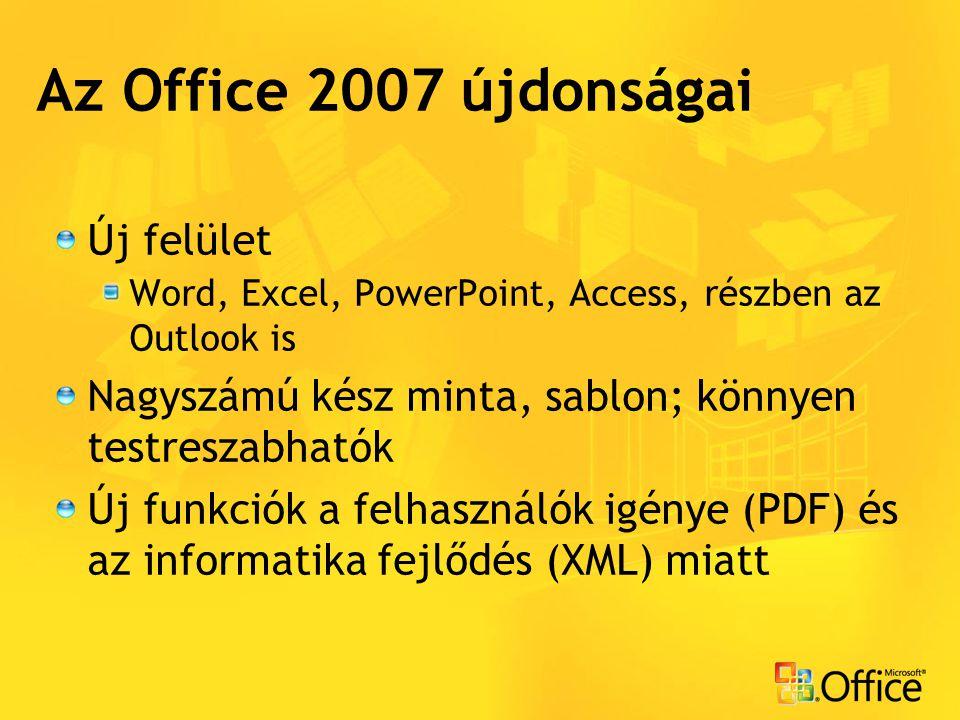 Az Office 2007 újdonságai Új felület Word, Excel, PowerPoint, Access, részben az Outlook is Nagyszámú kész minta, sablon; könnyen testreszabhatók Új f