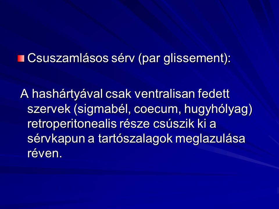 Csuszamlásos sérv (par glissement): A hashártyával csak ventralisan fedett szervek (sigmabél, coecum, hugyhólyag) retroperitonealis része csúszik ki a sérvkapun a tartószalagok meglazulása réven.