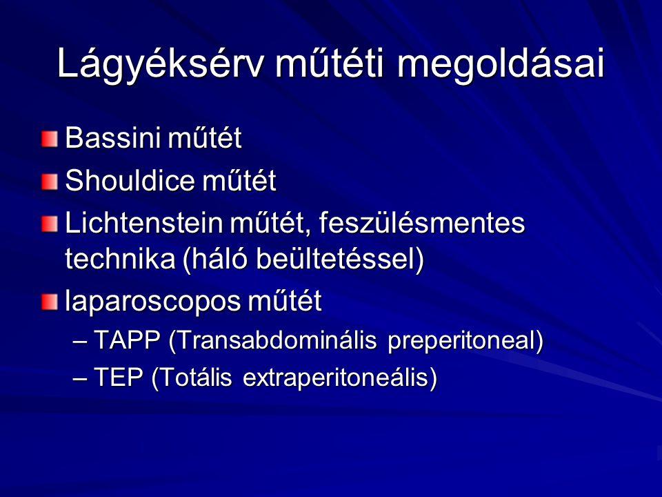 Lágyéksérv műtéti megoldásai Bassini műtét Shouldice műtét Lichtenstein műtét, feszülésmentes technika (háló beültetéssel) laparoscopos műtét –TAPP (Transabdominális preperitoneal) –TEP (Totális extraperitoneális)