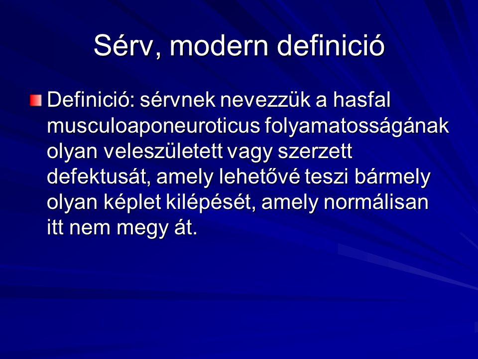 Sérv, modern definició Definició: sérvnek nevezzük a hasfal musculoaponeuroticus folyamatosságának olyan veleszületett vagy szerzett defektusát, amely lehetővé teszi bármely olyan képlet kilépését, amely normálisan itt nem megy át.