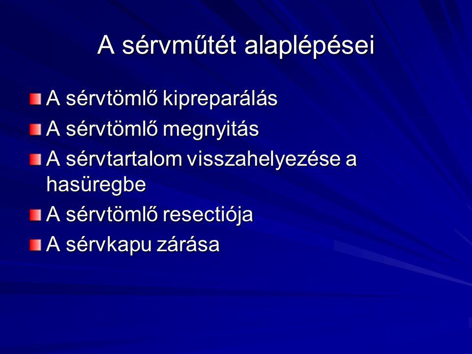 A sérvműtét alaplépései A sérvtömlő kipreparálás A sérvtömlő megnyitás A sérvtartalom visszahelyezése a hasüregbe A sérvtömlő resectiója A sérvkapu zárása