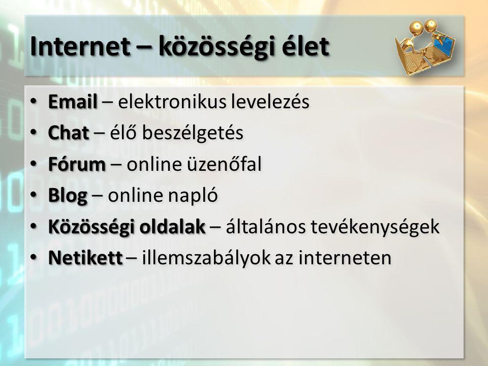 Internet – közösségi élet Email Email – elektronikus levelezés Chat Chat – élő beszélgetés Fórum Fórum – online üzenőfal Blog Blog – online napló Közö