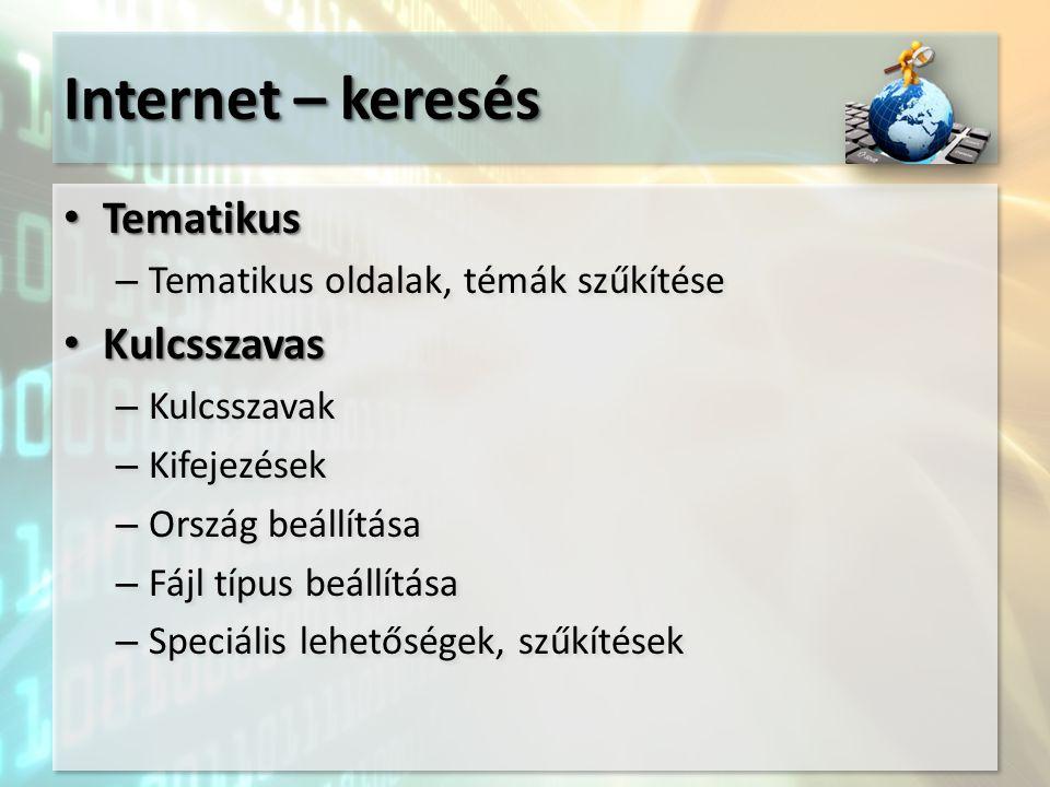 Internet – keresés Tematikus Tematikus – Tematikus oldalak, témák szűkítése Kulcsszavas Kulcsszavas – Kulcsszavak – Kifejezések – Ország beállítása –