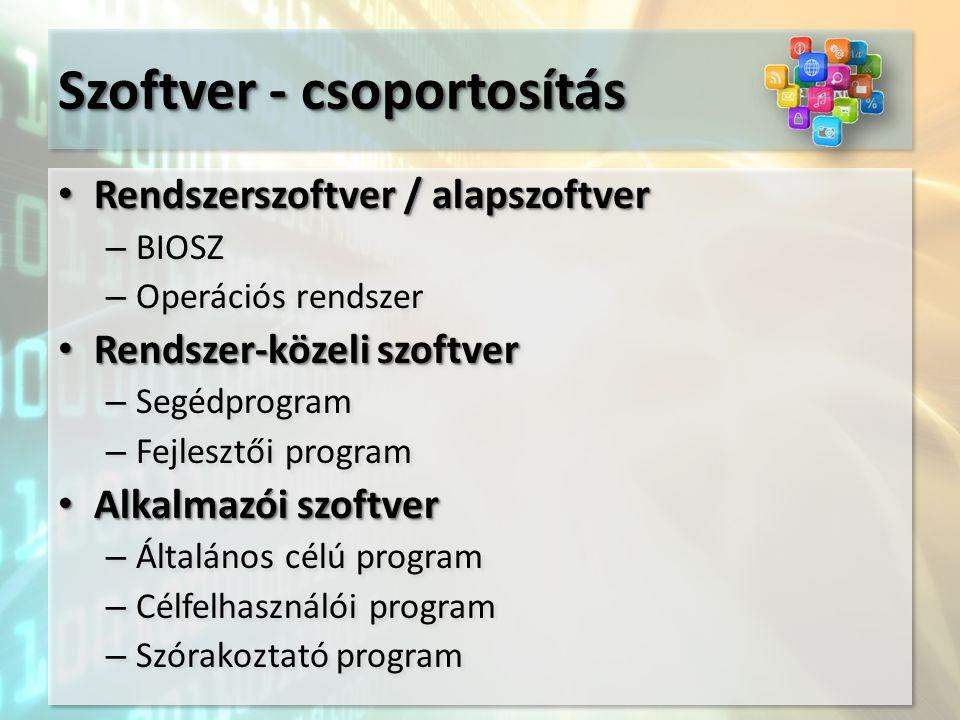 Szoftver - csoportosítás Rendszerszoftver / alapszoftver Rendszerszoftver / alapszoftver – BIOSZ – Operációs rendszer Rendszer-közeli szoftver Rendszer-közeli szoftver – Segédprogram – Fejlesztői program Alkalmazói szoftver Alkalmazói szoftver – Általános célú program – Célfelhasználói program – Szórakoztató program Rendszerszoftver / alapszoftver Rendszerszoftver / alapszoftver – BIOSZ – Operációs rendszer Rendszer-közeli szoftver Rendszer-közeli szoftver – Segédprogram – Fejlesztői program Alkalmazói szoftver Alkalmazói szoftver – Általános célú program – Célfelhasználói program – Szórakoztató program