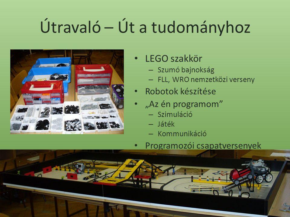 """Útravaló – Út a tudományhoz LEGO szakkör – Szumó bajnokság – FLL, WRO nemzetközi verseny Robotok készítése """"Az én programom – Szimuláció – Játék – Kommunikáció Programozói csapatversenyek"""
