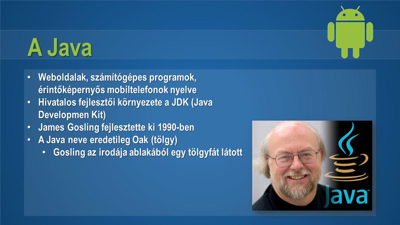 A Java Weboldalak, számítógépes programok, érintőképernyős mobiltelefonok nyelve Weboldalak, számítógépes programok, érintőképernyős mobiltelefonok ny