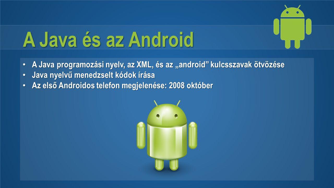 """A Java és az Android A Java programozási nyelv, az XML, és az """"android"""" kulcsszavak ötvözése A Java programozási nyelv, az XML, és az """"android"""" kulcss"""