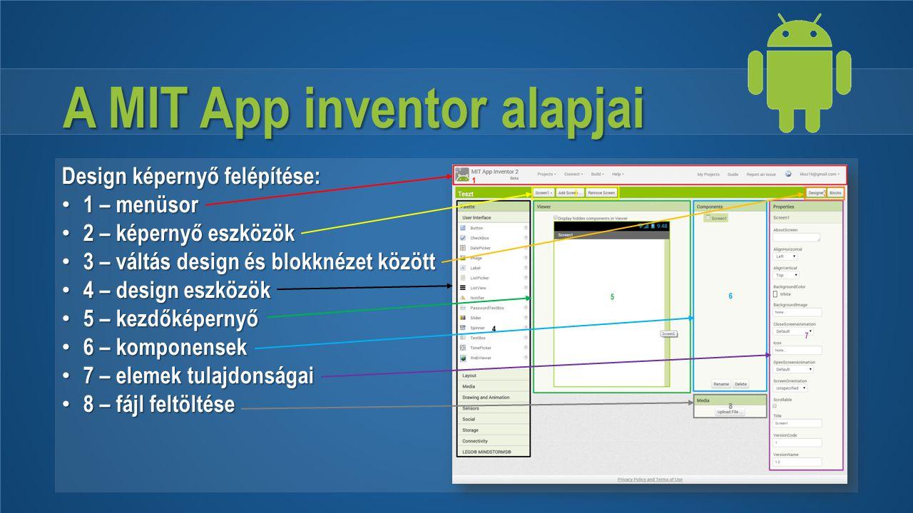 A MIT App inventor alapjai Design képernyő felépítése: 1 – menüsor 1 – menüsor 2 – képernyő eszközök 2 – képernyő eszközök 3 – váltás design és blokkn