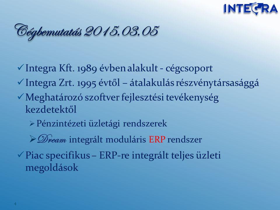 Integra Kft. 1989 évben alakult - cégcsoport Integra Zrt. 1995 évtől – átalakulás részvénytársasággá Meghatározó szoftver fejlesztési tevékenység kezd