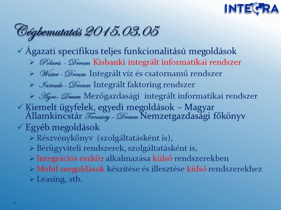 Ágazati specifikus teljes funkcionalitású megoldások  Polaris - Dream Kisbanki integrált informatikai rendszer  Water - Dream Integrált víz és csato