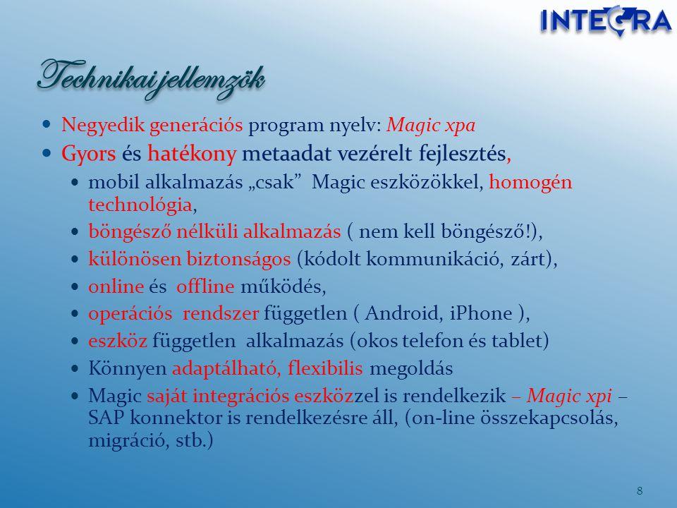 """Technikai jellemzök Negyedik generációs program nyelv: Magic xpa Gyors és hatékony metaadat vezérelt fejlesztés, mobil alkalmazás """"csak"""" Magic eszközö"""