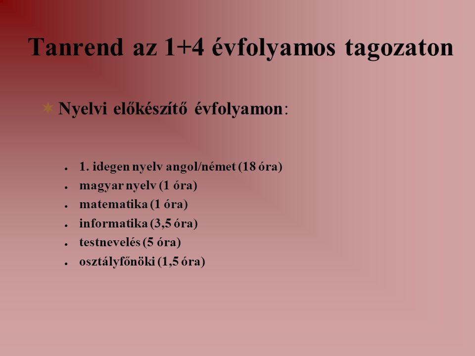 Tanrend az 1+4 évfolyamos tagozaton  Nyelvi előkészítő évfolyamon: ● 1. idegen nyelv angol/német (18 óra) ● magyar nyelv (1 óra) ● matematika (1 óra)