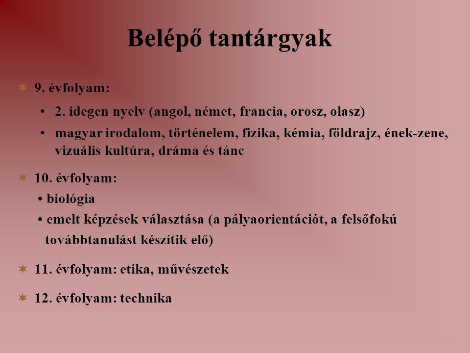  9. évfolyam: 2. idegen nyelv (angol, német, francia, orosz, olasz) magyar irodalom, történelem, fizika, kémia, földrajz, ének-zene, vizuális kultúra