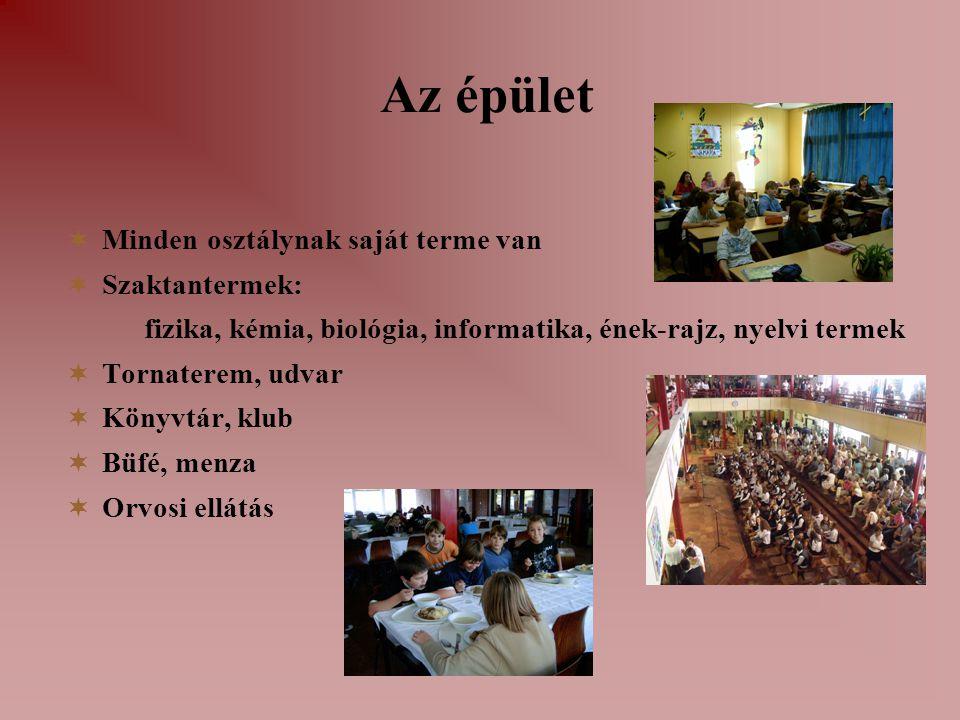 Az épület  Minden osztálynak saját terme van  Szaktantermek: fizika, kémia, biológia, informatika, ének-rajz, nyelvi termek  Tornaterem, udvar  Kö