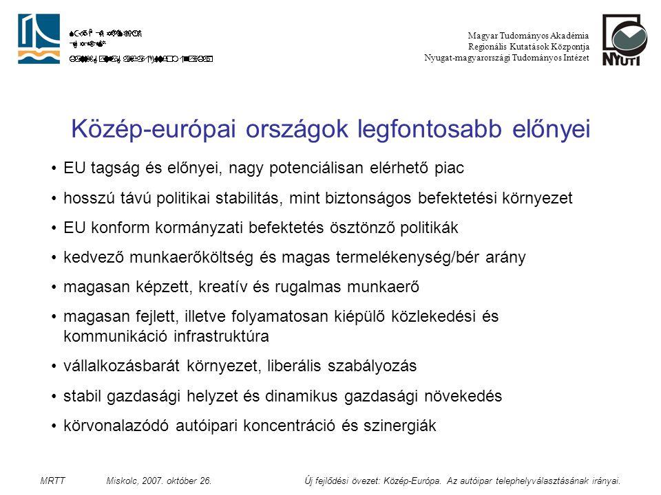 Az autóipar helyzete Közép-Európában Magyar Tudományos Akadémia Regionális Kutatások Központja Nyugat-magyarországi Tudományos Intézet MRTT Miskolc, 2007.