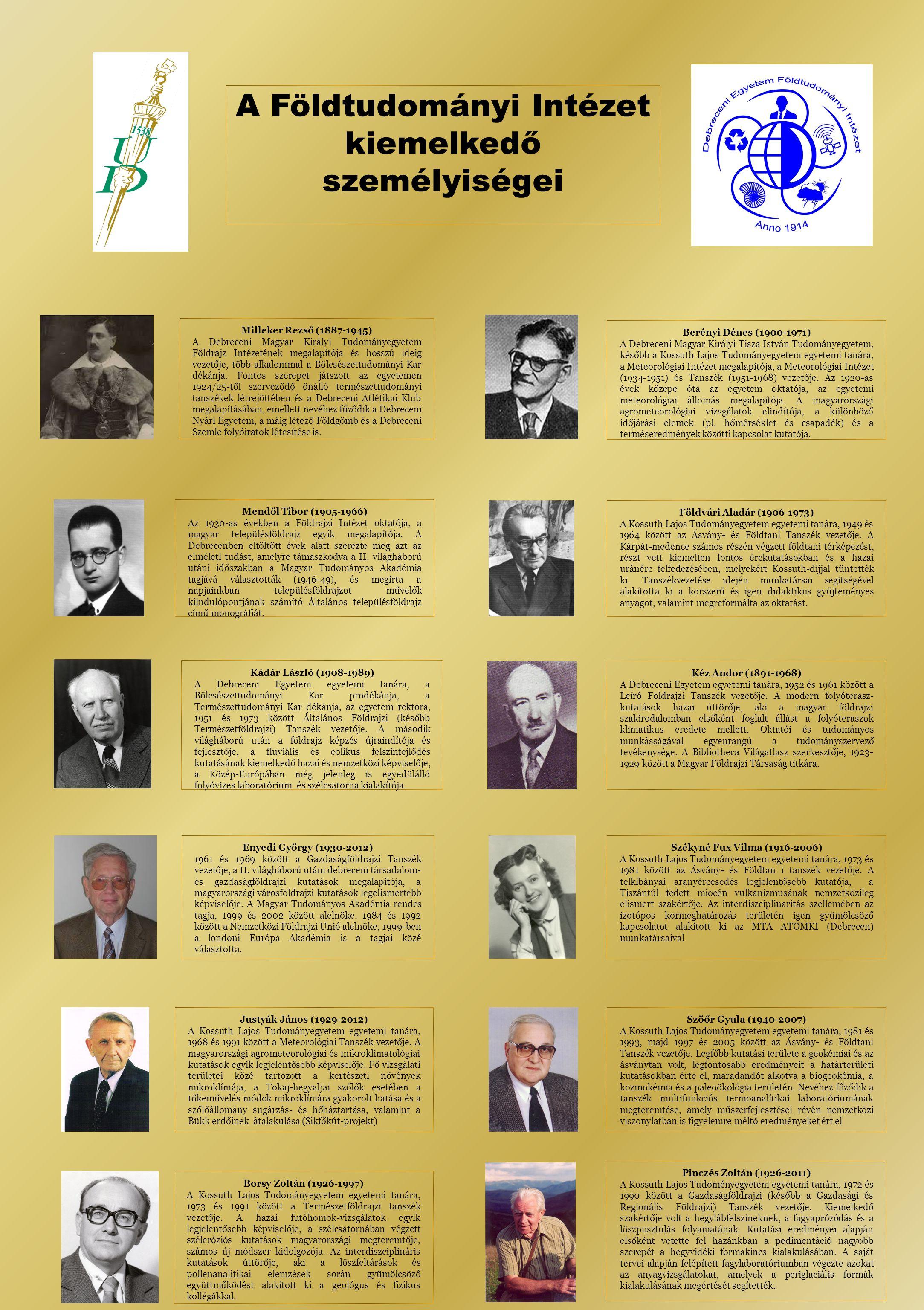 Milleker Rezső (1887-1945) A Debreceni Magyar Királyi Tudományegyetem Földrajz Intézetének megalapítója és hosszú ideig vezetője, több alkalommal a Bölcsészettudományi Kar dékánja.