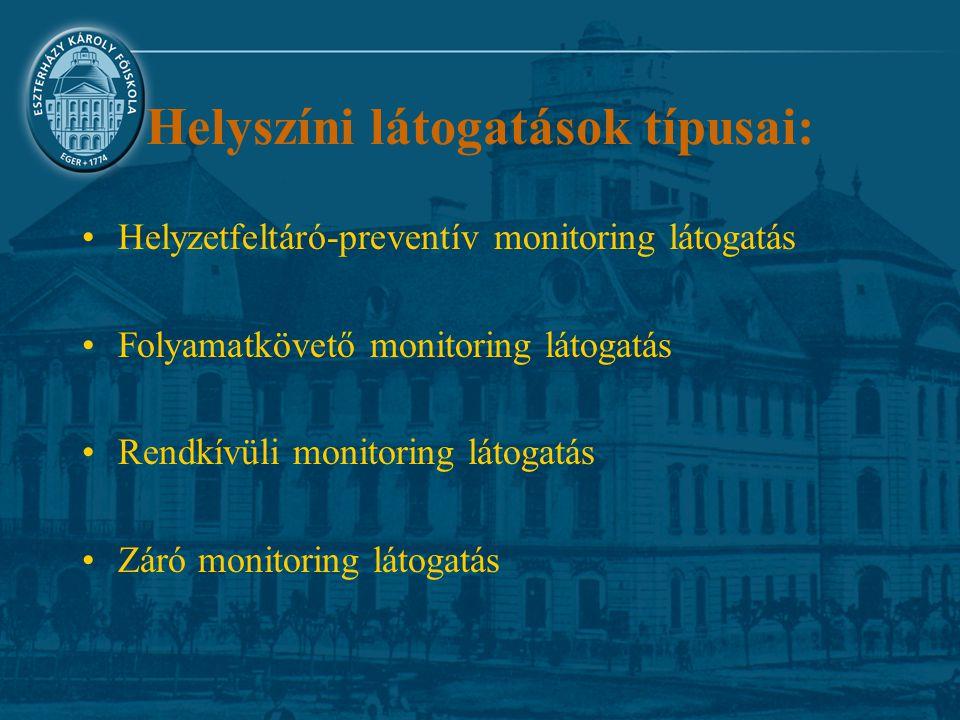 Helyszíni látogatások típusai: Helyzetfeltáró-preventív monitoring látogatás Folyamatkövető monitoring látogatás Rendkívüli monitoring látogatás Záró monitoring látogatás