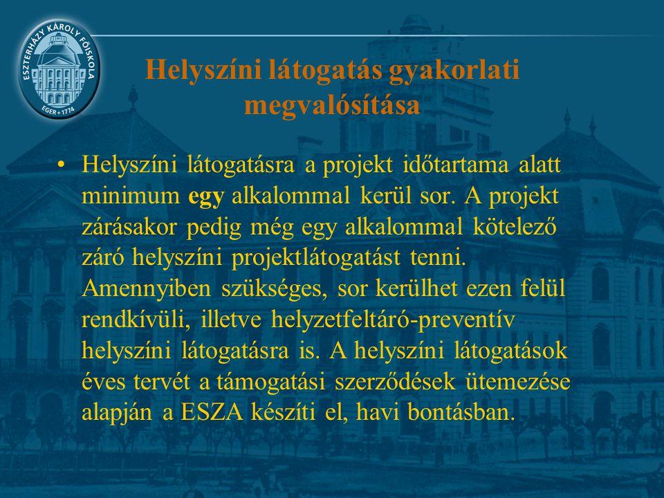 Helyszíni látogatás gyakorlati megvalósítása Helyszíni látogatásra a projekt időtartama alatt minimum egy alkalommal kerül sor.