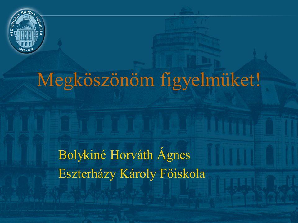 Megköszönöm figyelmüket! Bolykiné Horváth Ágnes Eszterházy Károly Főiskola