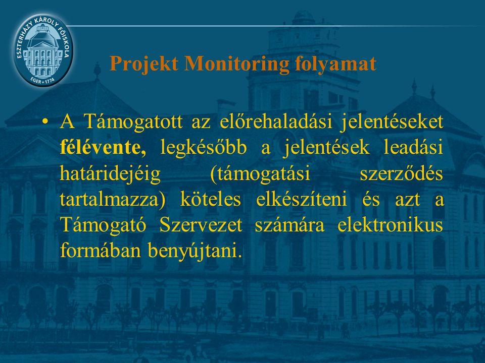 Projekt Monitoring folyamat A Támogatott az előrehaladási jelentéseket félévente, legkésőbb a jelentések leadási határidejéig (támogatási szerződés tartalmazza) köteles elkészíteni és azt a Támogató Szervezet számára elektronikus formában benyújtani.