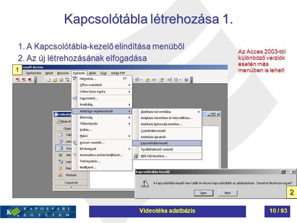 Kapcsolótábla létrehozása 1. Az Acces 2003-tól különböző verziók esetén más menüben is lehet! 1. A Kapcsolótábla-kezelő elindítása menüből 2. Az új lé