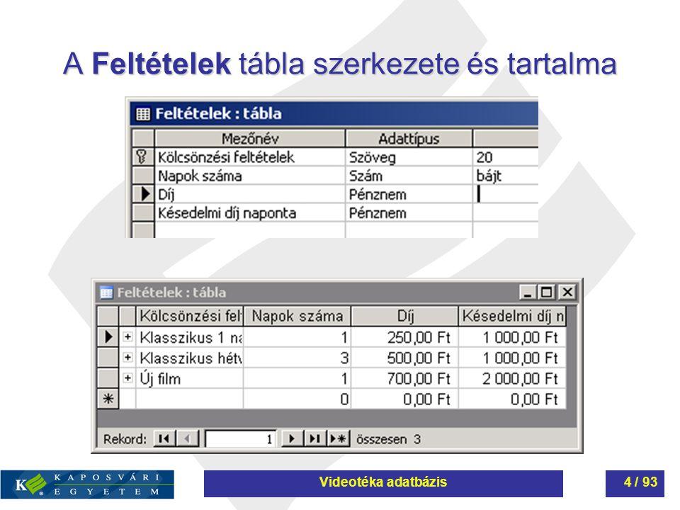 A Feltételek tábla szerkezete és tartalma Videotéka adatbázis4 / 93