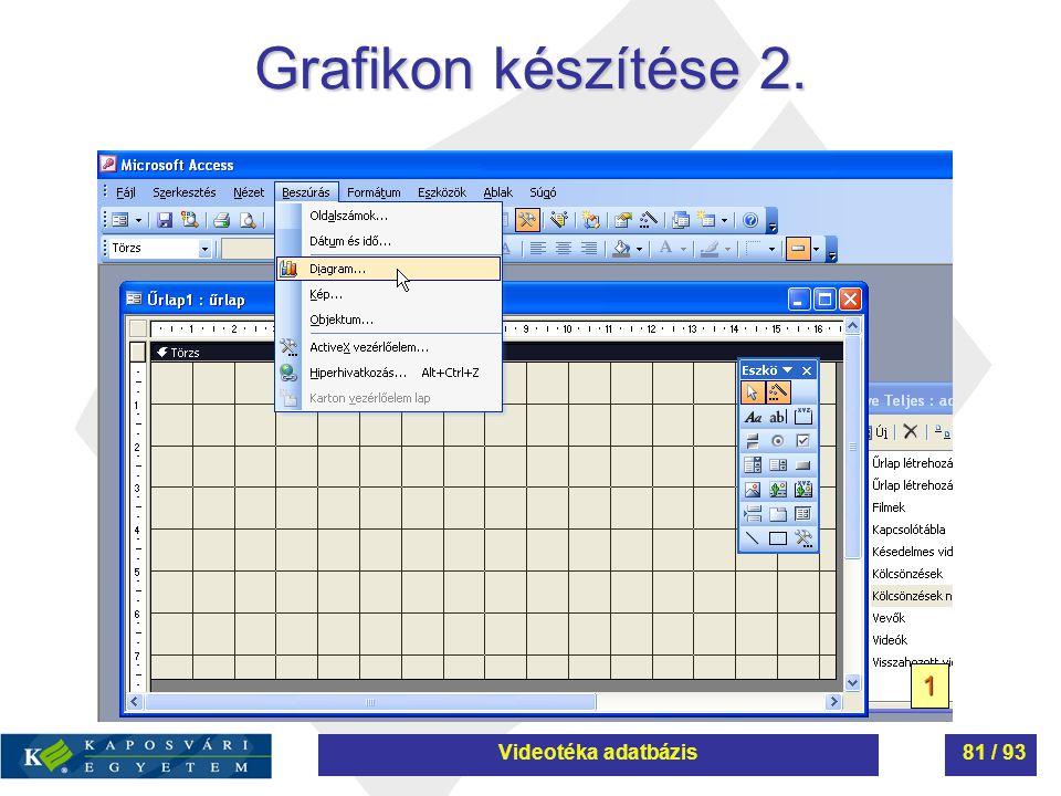 Grafikon készítése 2. 1 Videotéka adatbázis81 / 93