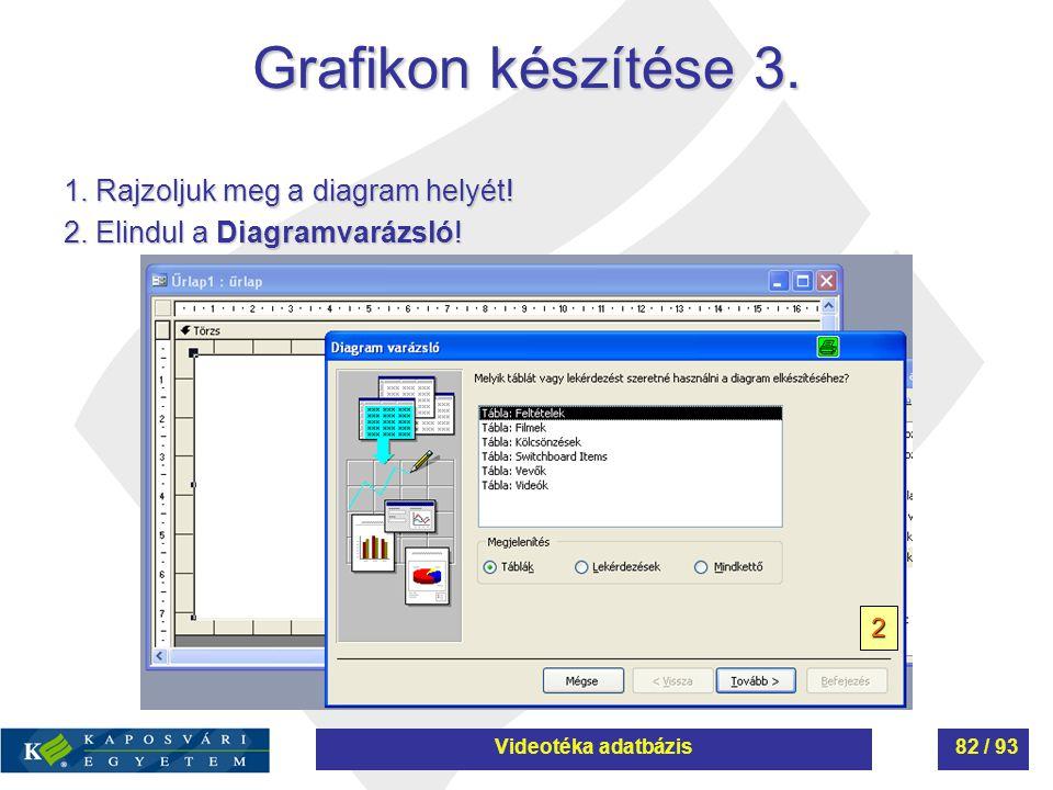 Grafikon készítése 3. 1. Rajzoljuk meg a diagram helyét! 2. Elindul a Diagramvarázsló! 2 Videotéka adatbázis82 / 93