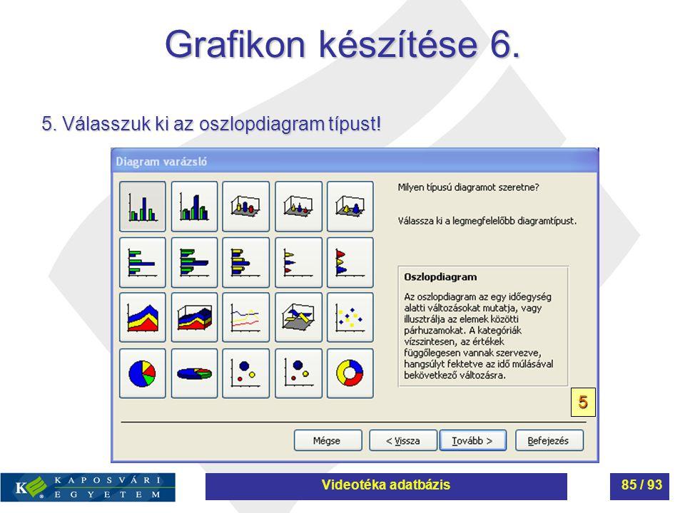 Grafikon készítése 6. 5. Válasszuk ki az oszlopdiagram típust! 5 Videotéka adatbázis85 / 93